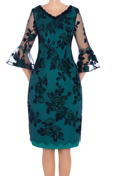 Sukienka L.B. Oliwia zielona z siatką w kwiaty
