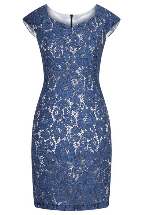 Sukienka koronkowa Agata 513 niebieska prosty fason