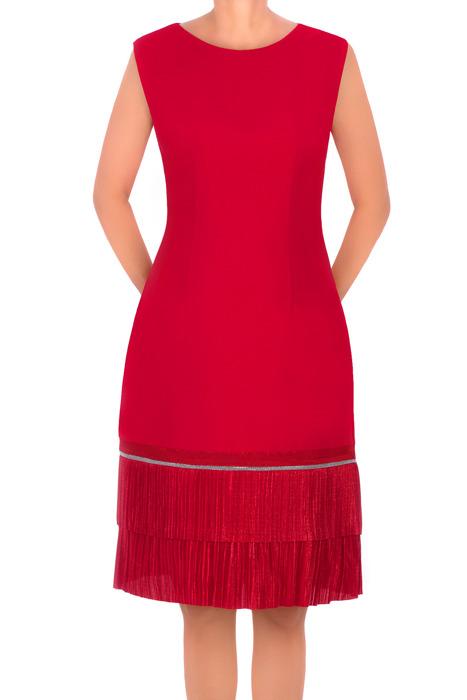 Sukienka retro Dagon 2311 czerwona z falbaną