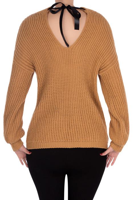 Sweter 3058 z łezką wiązany z tyłu camel