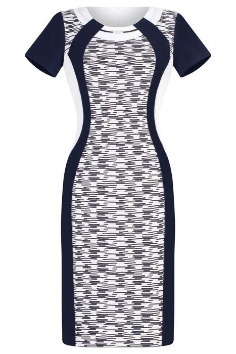 Wizytowa sukienka Andrea granatowa w geometryczne wzory