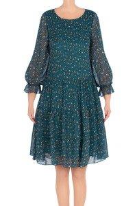 Modna sukienka damska Pola morska w beżowe kwiatki 3216