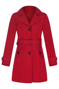 Płaszcz prochowiec AnMar czerwony jednorzędowy na guziki z paskiem