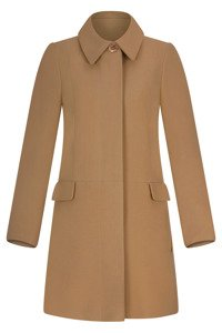 Płaszcz zimowy Caro Fashion 001 camel z kołnierzykiem wełna