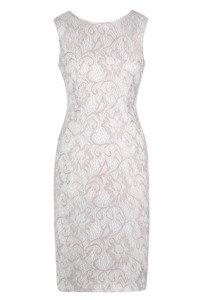 Sukienka Dagon 1858 beżowo-kremowa