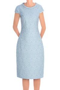 Sukienka Dagon 2550 niebieska w wytłaczane kwiaty