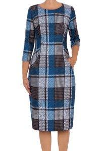 Sukienka Żan-Mar szaro-niebieska dzianinowa w kratkę